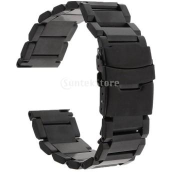 高品質 ステンレス 腕時計バンド ウォッチストラップ ブラック 全4サイズ バネ棒付き - 22mm