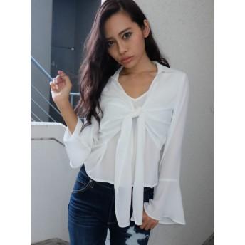 シャツ - RESEXXY フロントリボン袖フレアシャツ