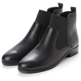キスコ KISCO 【本革】サイドゴアショートブーツ (ブラック)