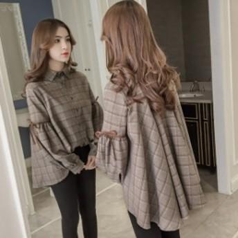 秋新作 襟付き チェック Aライン シャツ ブラウス 可愛い きれいめ 上品 オルチャン トレンド デート 大きいサイズ