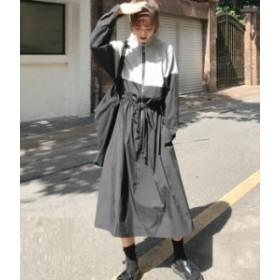 ワンピース ロング お出かけ 長袖 バイカラー カジュアル  春物 夏物 最新 レディース ファッション 2019 人気 可愛い 大人