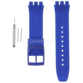 1セット シリコーンゴム 腕時計ストラップ リストバンド 交換用ベルト ステンレス鋼 バックル 21mm 全7色 - ネイビー