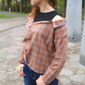 シャツ - LADY LIKE インナードッキングチェックシャツ レイヤード カジュアル チェック シャツ 秋