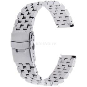 時計バンド メンズ ステンレス ストラップ  交換用 調節 腕時計適応 シルバー 全3サイズ - 20mm