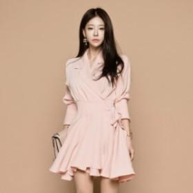 テーラー フレア ミニ ドレス ワンピース ドレス レディース 大きいサイズ 袖あり 結婚式 二次会 同窓会 春