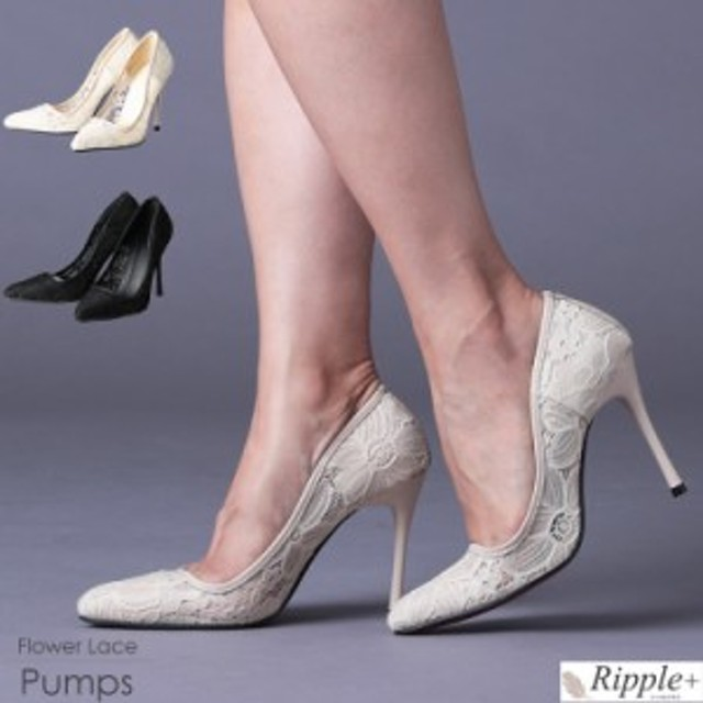 83292af287361 パンプス 結婚式 キャバ 10cmヒール 大きいサイズ ポインテッドトゥ レース 靴 シューズ ピンヒール 二次会