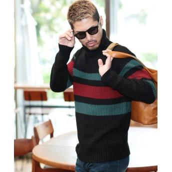 ジギーズショップ マルチネック畔ニット / ニット セーター メンズ ニットセーター メンズニット メンズセーター Vネック クルーネック タートルネック タートルニット メンズ ブラック系5 L 【JIGGYS SHOP】