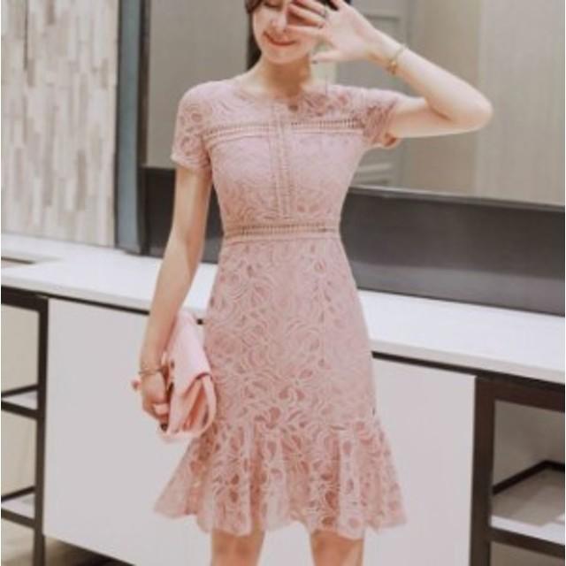609eee10b7823 総レース ミニ パーティー ドレス ワンピース レディース 大きいサイズ 半袖 タイト 結婚式 二次会 同窓会