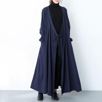 (再販×59)16色展開 コットンリネン ゆったり ギャザー ロングコート ♪オーダーサイズ可