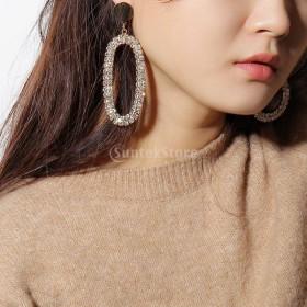 女性 幾何学 非対称 耳スタッド ロング ドロップ ダングル ピアス ギフト 全2色 - ゴールド