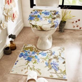 トイレマット 花柄 洗える すべりにくい 上品 エレガント おしゃれ ベージュ 標準マットのみ