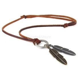 ネックレス  葉デザイン ペンダント 人造革製ロープ ファッション 服飾り