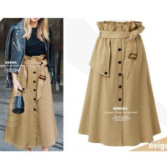 ロングスカート ベルト付きスカート トレンチ風スカート ハイウエスト ウエストゴム カジュアル バックル ベルト 前ボタン フロントボタン おしゃれ