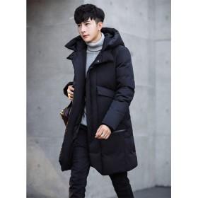 メンズファッション 男性 冬 ダウンコート アウター ロング丈 大きいサイズ 無地 ビジネスカジュアル 防寒 防風 綿服