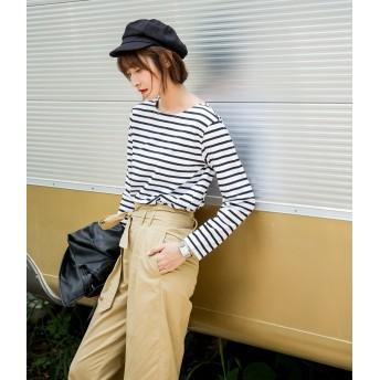 Tシャツ - LADY LIKE ボーダーロングTシャツ トップス Tシャツ ボーダー インナー 夏 秋 カジュアル