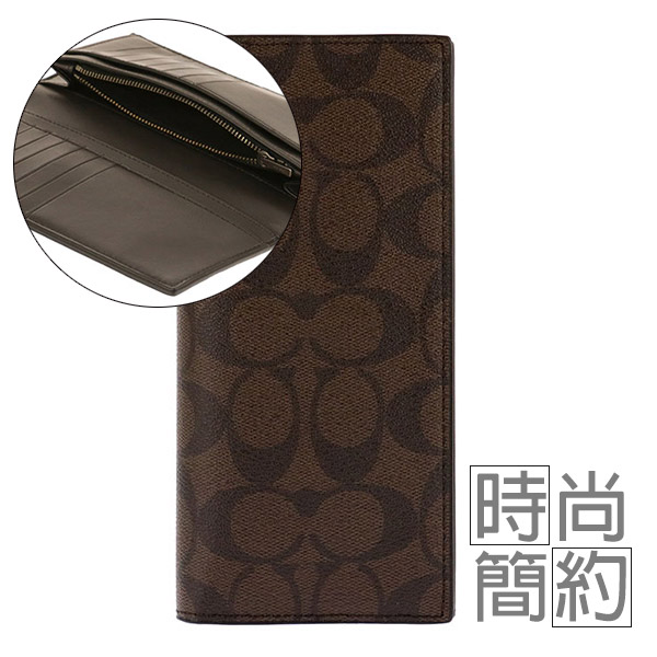 COACH 防刮皮革雙折14卡萬用夾/皮夾/長夾(咖啡)