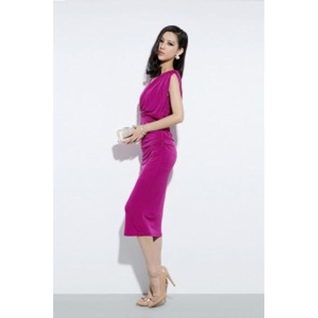 オルチャン パーティドレス ドレス ミモレ丈 セクシー シンプル ピンク 上品 可愛い きれいめ オルチャン 結婚式 お呼ばれ 2次会