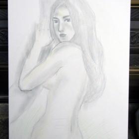 【裸の女】B3サイズ・キャンソンボード【肉筆絵画】