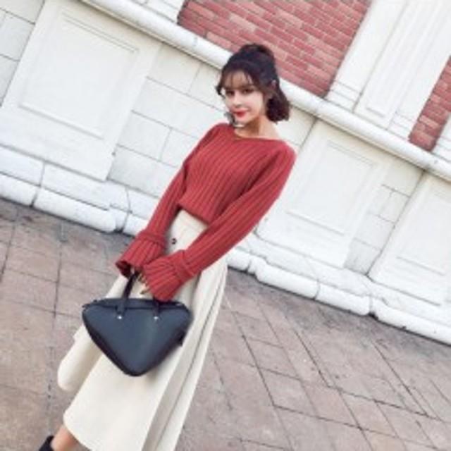 韓国 ファッション 秋服 レディース セットアップ ニット セーター 上下セット スカート 秋冬 前ボタンスカート フレアスカート テラコッ