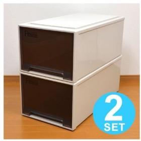 通販限定カラー 押入れ衣装ケース Fits ディープ ブラウン 2個セット ( フィッツケース 収納ボックス 日本製 )