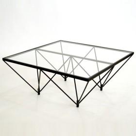 ガラステーブル ロータイプ 80cm角型 ( センターテーブル リビングテーブル )