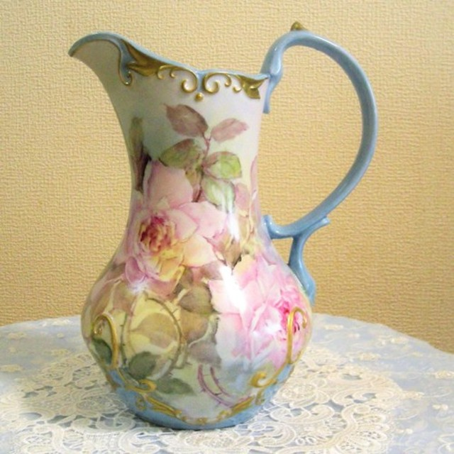 hand painted rose pitcher (水差し)高さ27cm