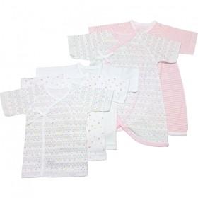 ベビーザらス限定 日本製 5枚入り フライス新生児肌着セット(短肌着・コンビ肌着) ねこ(ピンク×50-60cm)【送料無料】