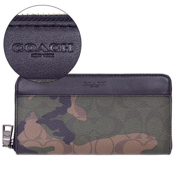 COACH 防刮皮革迷彩拉鍊皮夾/長夾
