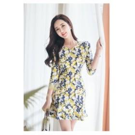 花柄 Vネック レトロプリント マルチカラーワンピース お呼ばれドレス フォーマル セットアップ 30代 20代 40代 50代
