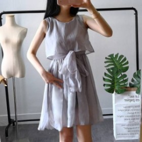 セットアップ風 ドレス ノースリーブウエストリボンがカワイイワンピース 【a0024】