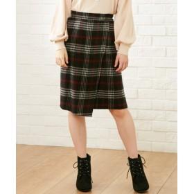 小さいサイズ ラップ風シャギーチェックスカート ロング丈・マキシ丈スカート
