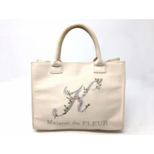 73ac25834b0a メゾンドフルール Maison de FLEUR トートバッグ レディース グレー×グリーン フラワー/刺繍 キャンバス【