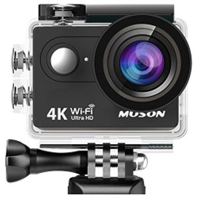【送料無料】進化版MUSON アクションカメラ 4K高画質 手振れ補正 WiFi搭載 30M防水 1600万画素 170度広角レンズ MC2 Pro1 AKM-094