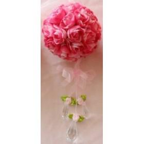造花 バラ フラワーボール 壁掛け リボン ガラス風チャーム付き (ローズピンク)