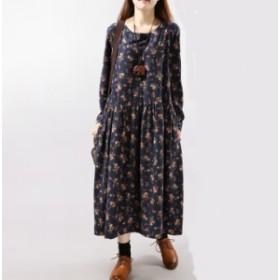 ワンピース ロング ゆったり着るタイプ かわいい 花柄 送料無料 M・Lサイズ G4