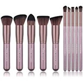 メイクブラシ 化粧筆セット 化粧ブラシ コスメブラシ アイシャドウブラシ メイクアップブラシ 10本(コーヒー色)