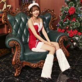 2019クリスマス衣装 コスチューム衣装 レディース サンタ ワンピース セクシー 仮装 コスプレ 3点セット サンタクロース