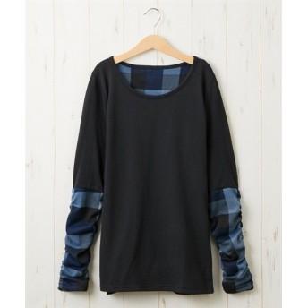 袖異素材切り替えトップス (Tシャツ・カットソー)(レディース)T-shirts
