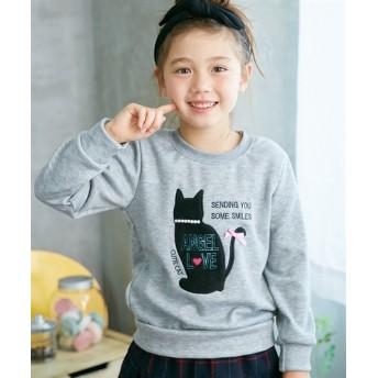 あったか裏シャギー ネコちゃんアップリケトレーナー(女の子 子供服。ジュニア服) トレーナー