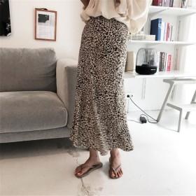 [55555SHOP]★最強のchic★秋韓国ファッション★韓版 可愛 気質 少女 レオパード ロングスカート
