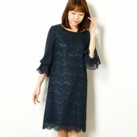 エー・アール アザレアローズ(A・R Azalea Rose)/レース裾スカラップ袖付きドレス(結婚式/二次会/謝恩会/パーティー)