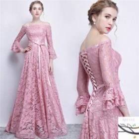 パーティードレス  結婚式 ドレス お呼ばれ 袖あり 大きいサイズ ロングドレス 結婚式 お呼ばれ レース 七分袖 結婚式 二次会 ワンピース