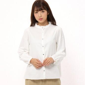 シャツ ブラウス レディース リバティボタンのビエラフリルブラウス 日本製  「オフホワイト」