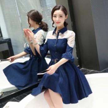 花柄刺繍 レース 切り替えデザイン デニムワンピース ノンウォッシュ ミニ丈 シースルー 襟付き 五分袖 大きいサイズ