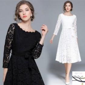 パーティードレス 総レース 上品 可愛い 結婚式のお呼ばれドレス 40代 フォーマルワンピース 体型カバー 上品 袖あり 黒 ひざ ミモレ丈