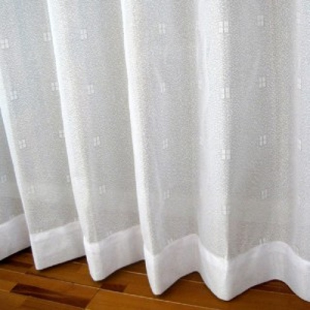 TERADA 吸湿・防カビ加工レースカーテン ホワイト 幅100×丈133cm2枚組