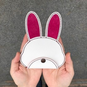 うさぎちゃんのコインケース&パスケース(ローズピンク/イタリアンレザー)