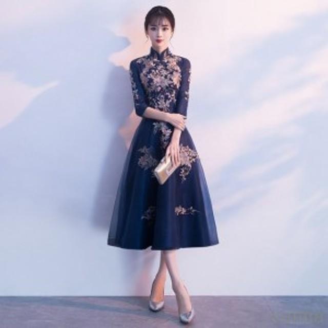 7分袖 花柄 ドレス レディース