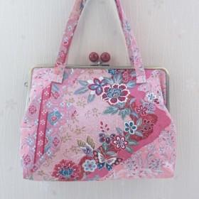 正絹 御朱印帳バッグ  変わり斜め縞に蝶と草花模様