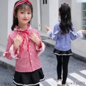 715dd69969b61 子ども服 2018 新作 チェック柄 可愛いトップス ジュニア 子供服 チェックシャツ 長袖シャツ ブラウス